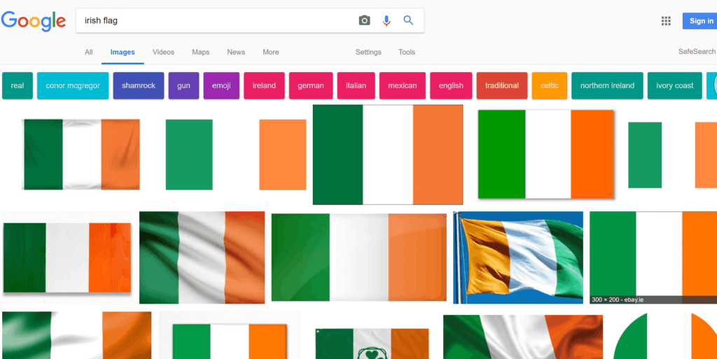The Irish flag also appears as the Ivory Coast flag on Google.