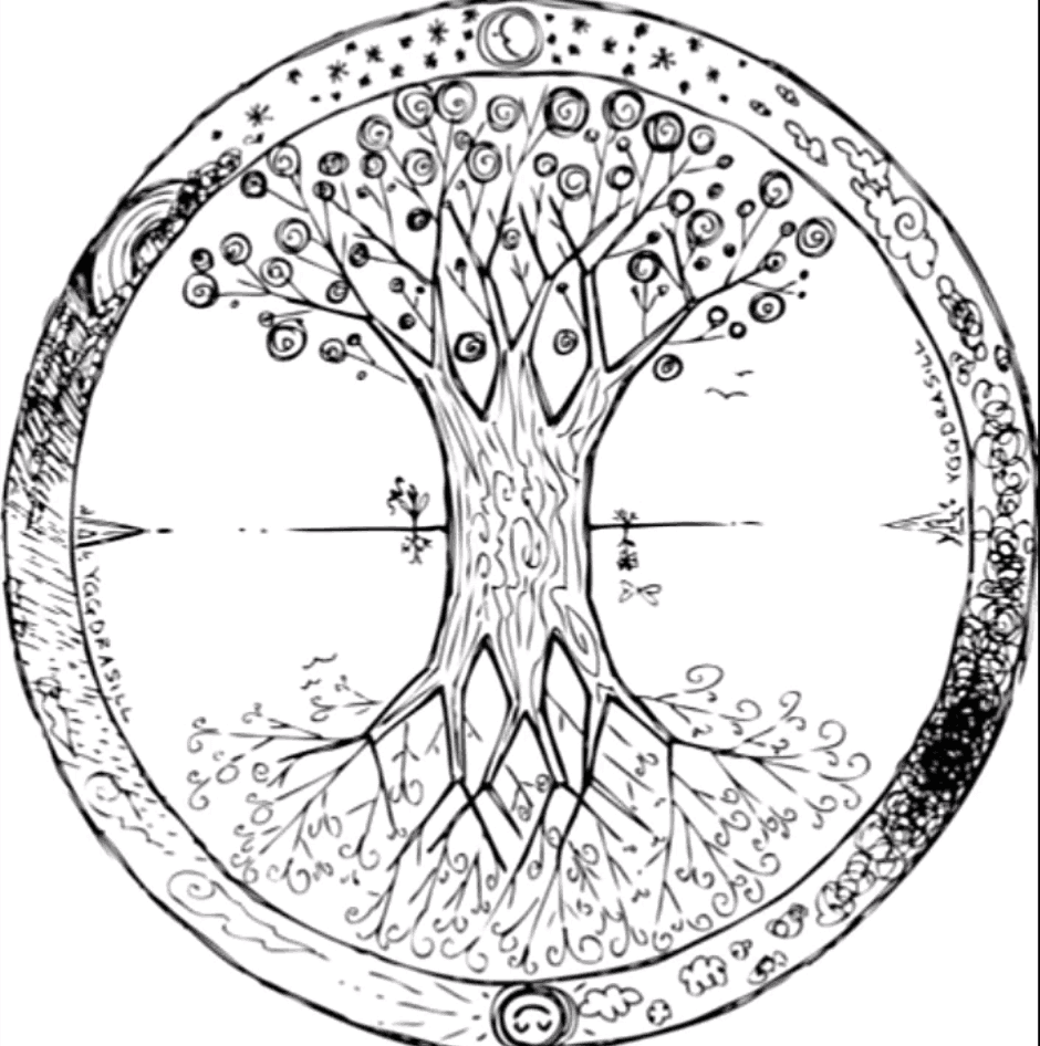 The Celtic Tree of life and it's roots to the underworld and heavens.