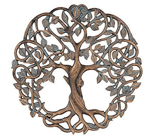 "Tree of Life Wall Plaque 11 5/8"" Decorative Celtic Garden Art Sculpture Copper Finish"