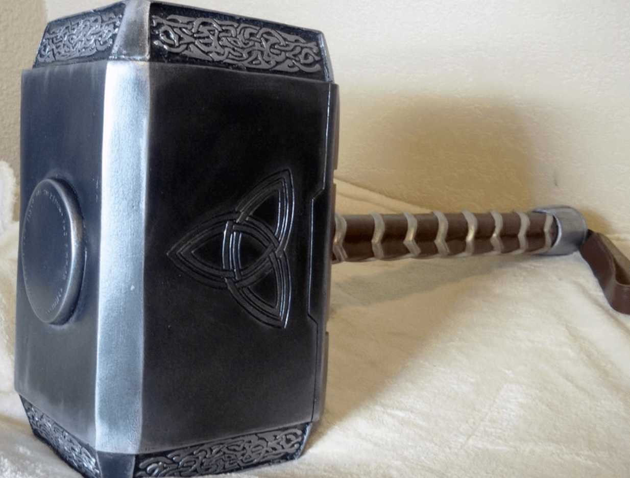 The symbol on Thor's hammer is actually an ancient Celtic Symbol the Triquetra you can see it in this image.