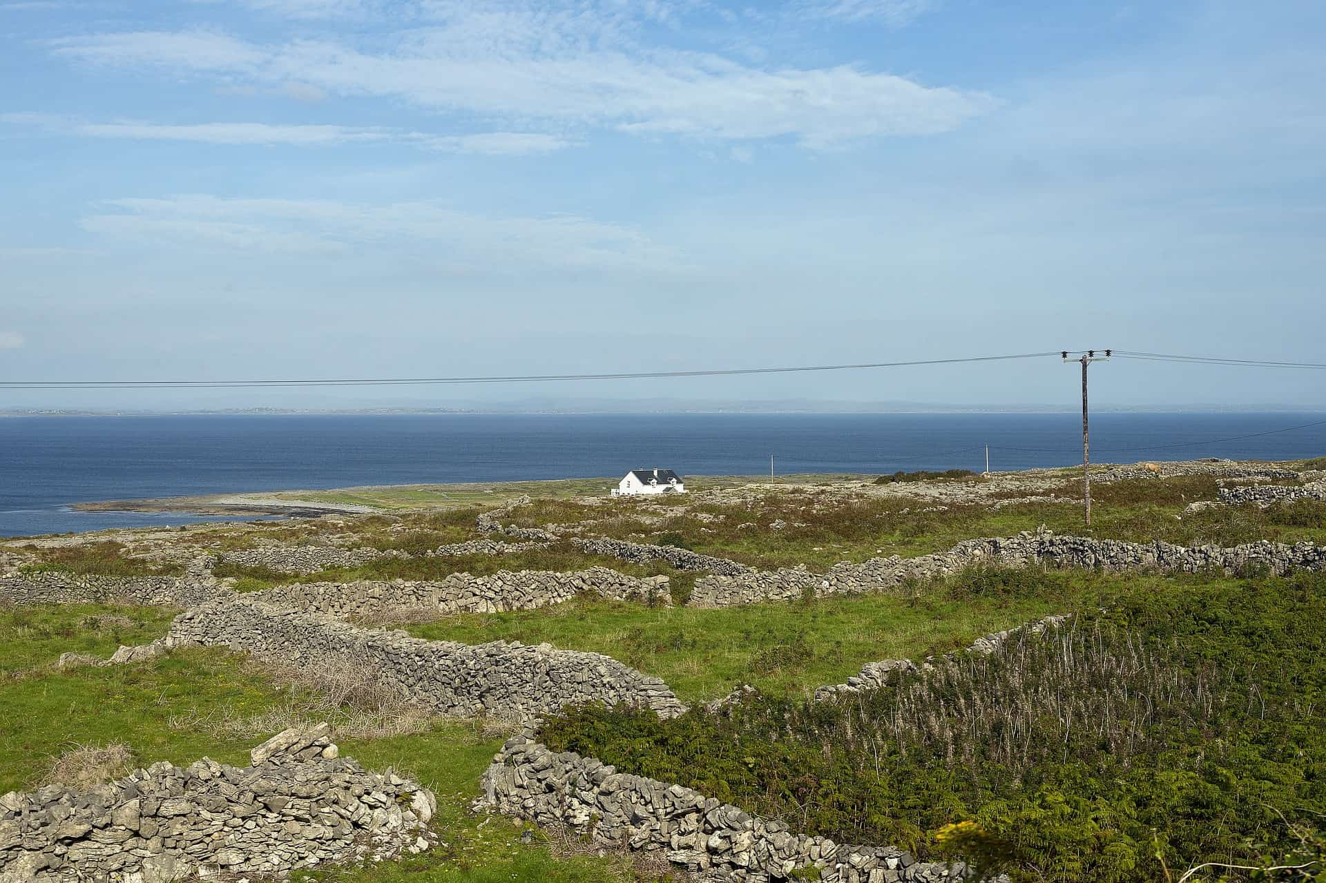 Small white house on the Aran islands. Tiny stone walls surrounding it looking out to sea.
