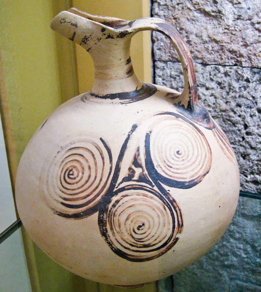 Beaked jug (ewer) decorated with triple spirals. Late Helladic III, 1400-1350 BC