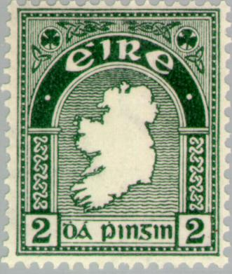 Map of Ireland: the first Irish postage stamp featured the shamrock