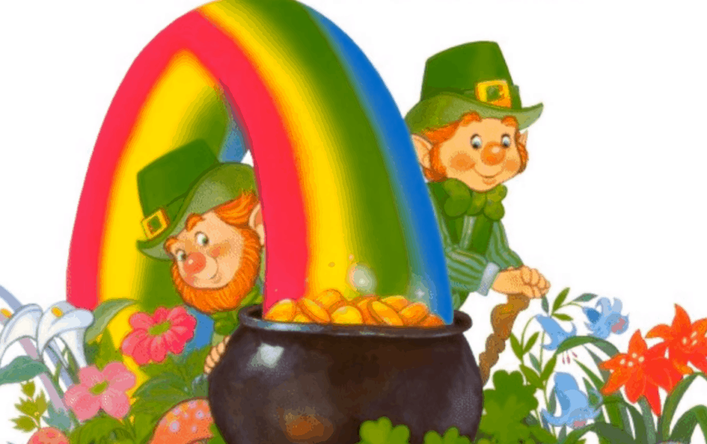 Leprechauns at the base of a rainbow with a black pot of Gold