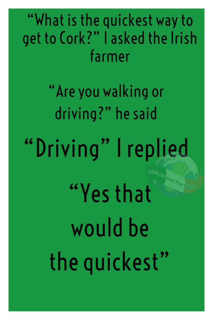 Irish joke walking or driving to Cork