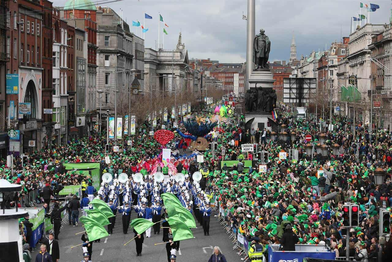 A main street in Dublin on St Patrick's day.
