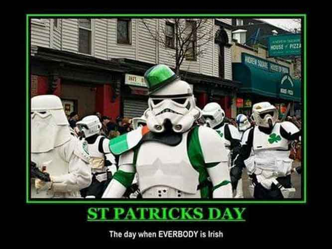 Even the storm troopers from Star Wars are wearing green on St Patrick's day